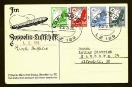 POSTE AÉRIENNE PAR HINDENBURG ZEPPELIN 1936-  PREMIER VOYAGE D'ESSAI EN ALLEMAGNE- 23-3-36- 2 SCANS - Airmail