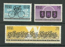 POLAND MNH ** 1166-1168 Tour Cycliste De La Paix Coureur Peloton Armoirie Armoiries Vélo Cycle Cyclisme - 1944-.... Republik