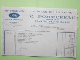 Facture Document - AUTOMOBILES FORD, GARAGE DE LA LOIRE, C.POMMEREAU à BONNY-SUR-LOIRE (45) Le 5/09/1933 - Automobile