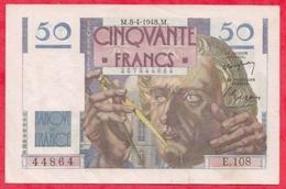 """50 Francs """"Le Verrier"""" Du 08/04/1948.M ---F/TTB+-----Série .E108 --Coupure De 2cm à 17h25 Aucun Trou D 'épingle - 1871-1952 Circulated During XXth"""