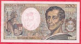 """200 Francs """"Montesquieu"""" 1992 ---AU/SPL--Série B.118 -AUCUN TROU D EPINGLE -BEAU BILLET - 1962-1997 ''Francs''"""
