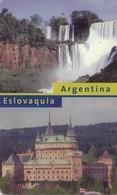 TARJETA TELEFONICA DE ARGENTINA. CATARATAS DEL IGUAZÚ Y CASTILLO DE BOJNICE (352) - Argentina