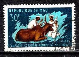 MALI 99° 30f Bleu-noir, Bleu Et Brun Lutte Contre La Peste Bovine (10% De La Cote + 015) - Mali (1959-...)