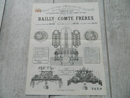 TRES RARE BROCHURE FABRIQUE D'HORLOGES DE CLOCHERS BAILLY COMTE FRERES A MOREZ DU JURA VERS 1880 - Publicités