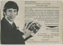 Udo Jurgens (singer - Promotional Card) - Musique Et Musiciens