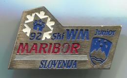 Ski Skiing Jumping - MARIBOR SKI WM JUNIOR 1992, Slovenija, Pin, Badge, Abzeichen - Winter Sports