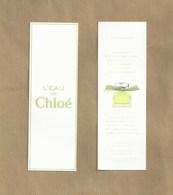 Carte Parfumée Perfume Card L'EAU DE CHLOE * R/V * JAPON - Perfume Cards