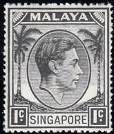SINGAPORE - Scott #1a King George VI 'Perf. 18' / Mint H Stamp - Singapore (...-1959)