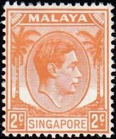 SINGAPORE - Scott #2 King George VI 'Perf. 14' / Mint H Stamp - Singapore (...-1959)