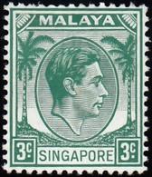 SINGAPORE - Scott #3 King George VI 'Perf. 14' / Mint H Stamp - Singapore (...-1959)