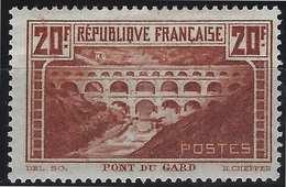 France Pont Du Gard N°262a* Type I Chaudron Clair Gomme Brillante TTB & RR Signé Calves & Pigeron - France