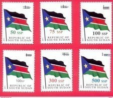 SOUTH SUDAN Surcharged Overprints On 1 SSP National Flag Stamp Of The 1st Set SOUDAN Du Sud Südsudan - Sud-Soudan