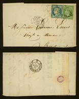 LETTRE CLASSIQUE FRANCE-NAPOLEON III(5c)+CERES(20c)-OBLITERATION LOSANGE GROS CHIFFRES 2170(PARIS MAISON BLANCHE)-LL1278 - Cartes Postales
