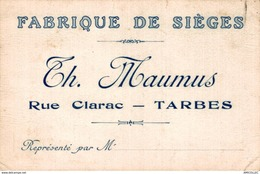 5377  -2018    FABRIQUE DE SIEGES  TH. MAUMUS  RUE CLARAC  TARBES - Cartoncini Da Visita