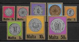 MALTE    -   1972 .   Y&T N° 441 à 448 **.  Pièces De Monnaie.  Série Complète - Malta