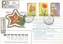 Uzbekistan 1994 Tashkent Flower Crocus Alatavicus Salvia Buchaica Tulipa Greigii Registered Cover - Oezbekistan
