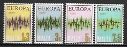 MALTE    -   1972 .   Y&T N° 452 à 455 **.   EUROPA .  Série Complète - Malta