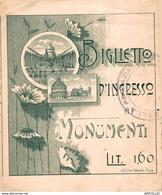 7013  -2018    BILLET D ENTREE MONUMENT ITALIE - Tickets D'entrée