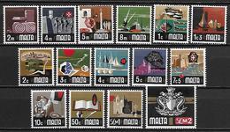 MALTE    -   1973 .   Y&T N° 459 à 473 **.   Série Courante .  Série Complète - Malta