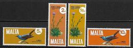 MALTE    -   1971 .   Y&T N° 431 à 434 **.   Fleurs  /  Oiseaux.   Série Complète - Malta