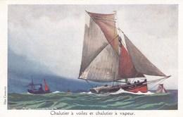 Chalutier à Voiles Et Chalutier à Vapeur - Barche