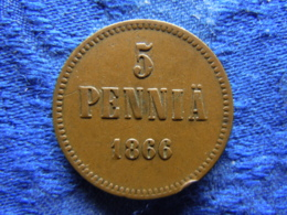 FINLAND 5 PENNIA 1866, KM4.1 Edge Nick - Finlande