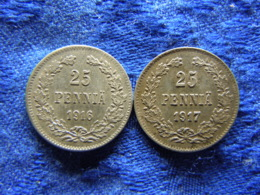 FINLAND 25 PENNIA 1916 KM6.2, 1917 KM19 - Finland