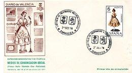 Carta Con Matasellos Commemorativo Exposicion Filatelica Hermandad Valencia-zaragoza 1974 Diario De Valencia - 1931-Hoy: 2ª República - ... Juan Carlos I