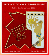 """SUPER PIN'S MUSIQUE-JAZZ : Le TROMPETISTE """"JAZZ à NICE"""" 1986 Signé TABLO Version 92, émaillé Grand Feu Base Or 2,5X2,5xm - Musique"""