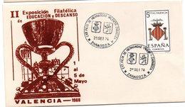 Carta Con Matasellos Commemorativo Exposicion Filatelica Hermandad Valencia-zaragoza. - 1931-Hoy: 2ª República - ... Juan Carlos I