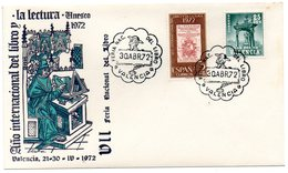 Carta Con Matasellos Commemorativo Feria Nacional Del Libro De 1972 Valencia - 1931-Hoy: 2ª República - ... Juan Carlos I