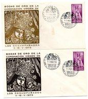 2 Cartas Con Matasellos Commemorativo Bodas De Oro De La Coronacion Virgen De Los Desamparos 1973 - 1931-Hoy: 2ª República - ... Juan Carlos I
