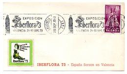 Carta Con Matasellos Rodillo Exposicion Iberflora 1973 Con Viñeta. - 1931-Hoy: 2ª República - ... Juan Carlos I