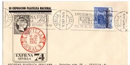 Carta  Con Matasellos  Commemorativo Exfilna Sevilla De 1974 - 1931-Hoy: 2ª República - ... Juan Carlos I