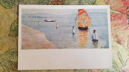 """Italy - """"Lagune In Murano"""" By Polenov / Old Postcard 1955  Landscape - Venetië (Venice)"""