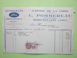 Facture Timbre Fiscal 25c- AUTOMOBILES FORD, GARAGE DE LA LOIRE, C.POMMEREAU à BONNY-SUR-LOIRE (45) Le 21/08/1933 - Automobile