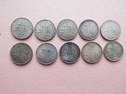 LOT DE 10 PIECES DE 1 FRANCS ARGENT + 1 COPIE 1916 - Frankreich