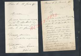LOT DE CORRESPONDANCE DE PARIS 1896/97 ECT : - Manoscritti