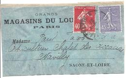 Semeuse 40c Vermillon N°194 + 45c Lignée Lilas Paris Sur Fragment Pour Navilly - 1906-38 Semeuse Camée