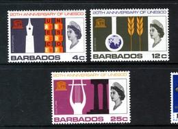 BARBADOS - 1967 UNESCO ANNIVERSARY SET (3V) FINE MNH ** SG 360-362 - UNESCO