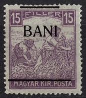 1919 Romania Occupation Hungary ARAD Borosjenő Ineu 15 Bani BANK Overprint - Harvester - Transylvanie