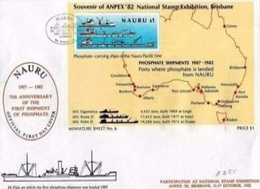 NAURU - 11 10 1982 FDC 75° ANNIVERSARY FIRST SCHIPMENT OF PHOSPHATE -  E ANPEX 1982 - Nauru