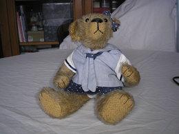 OURS ARTISTE FRANCAIS EN MOHAIR ANNEE 1980 31Cm PIECE UNIQUE DANS LE MONDE YEUX EN VERRE - Teddybären
