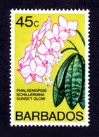 BARBADOS - 1977 SUNSET GLOW FLOWER WMK W12 S/W FINE MNH ** SG 495b - Barbados (1966-...)