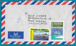 2 Timbres Sur Enveloppe Pour La Suisse. - Maldives (1965-...)
