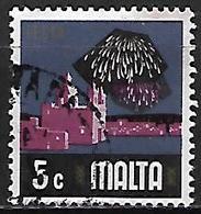 MALTE    -   1973 .   Y&T N° 468 Oblitéré   Fête  /  Feux D' Artifice - Malta