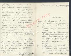 2 LETTRES DE BORDEAUX 1893 POUR MATHIEUX NOTAIRE À JOIGNY YONNE : - Manuscrits