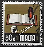 MALTE    -   1973 .   Y&T N° 471 Oblitéré    Education  /  Livre  /  Equerre - Malta