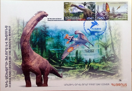 Armenia Arménie Armenien 2018 FDC Flora Fauna Ancient World Dinosaur Argentinosaurus Tapejara - Arménie