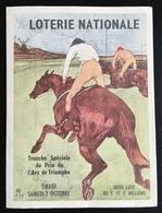 Course Chevaux Grand Prix Arc De Triomphe Loterie Nationale Petit Dépliant Illustré - Billets De Loterie